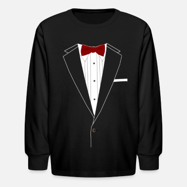 Suit Tuxedo Red Bowtie - Kids' Long Sleeve T-Shirt