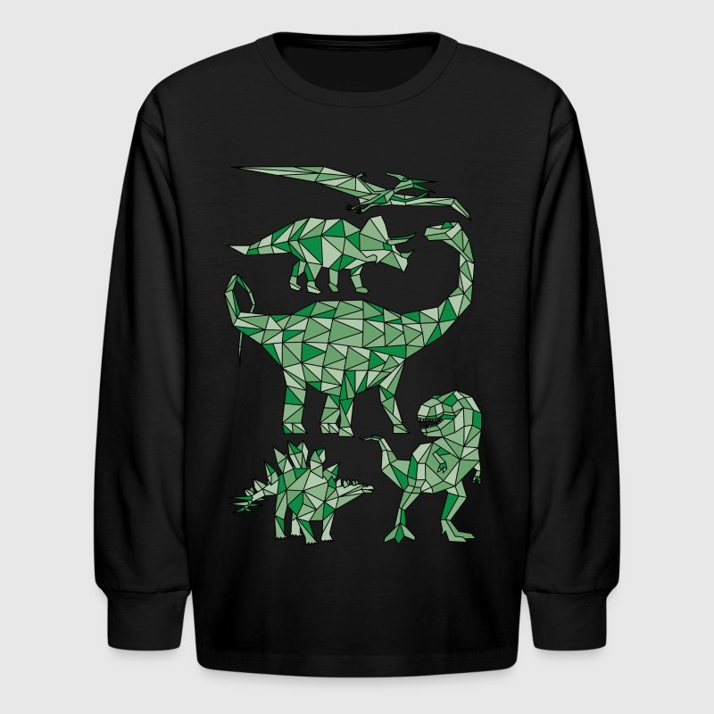 Geometric Dinosaurs - Kids' Long Sleeve T-Shirt