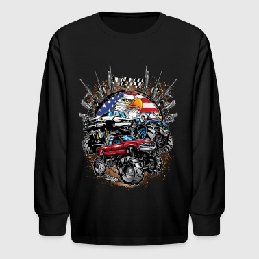 Mega Mud Trucks USA - Kids' Long Sleeve T-Shirt