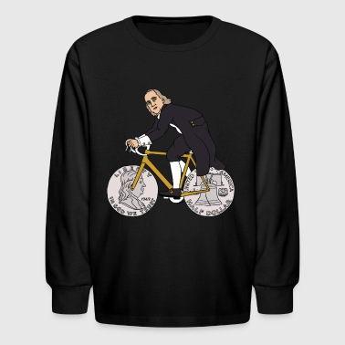 ben franklin on bike with half dollar wheels - Kids' Long Sleeve T-Shirt
