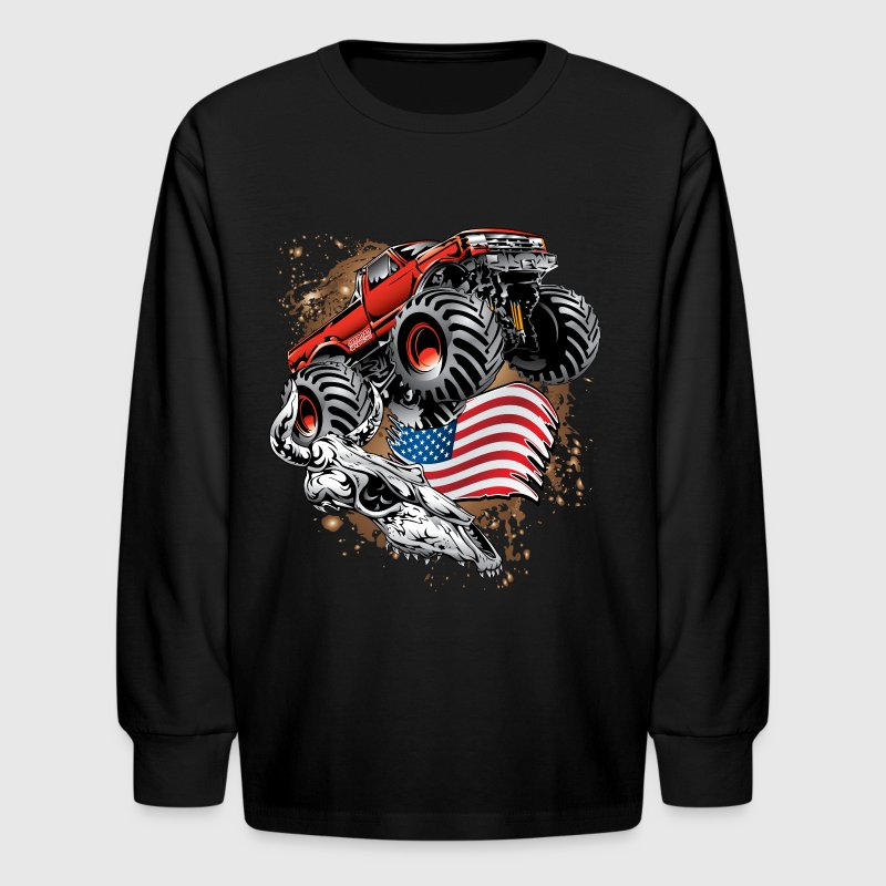 Monster Truck USA Skull - Kids' Long Sleeve T-Shirt