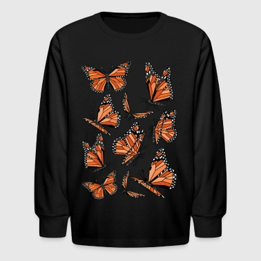 Geometric Monarch Butterfly  - Kids' Long Sleeve T-Shirt