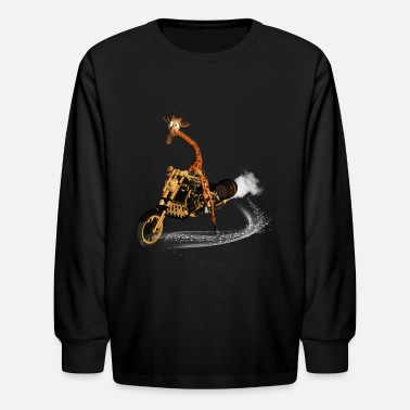 Giraffe Cute giraffe on a motorcycle - Kids' Longsleeve Shirt