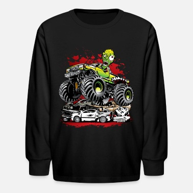 Monster Ghoulish Monster Truck - Kids' Long Sleeve T-Shirt