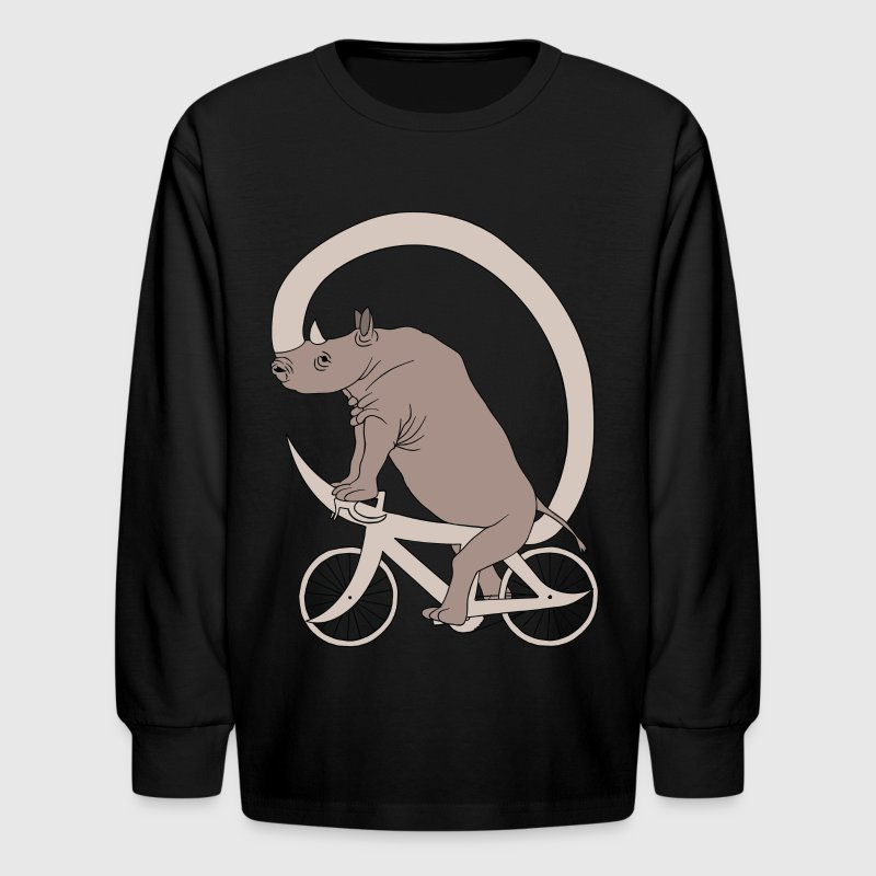 Rhino Riding It's Horn Bike  - Kids' Long Sleeve T-Shirt