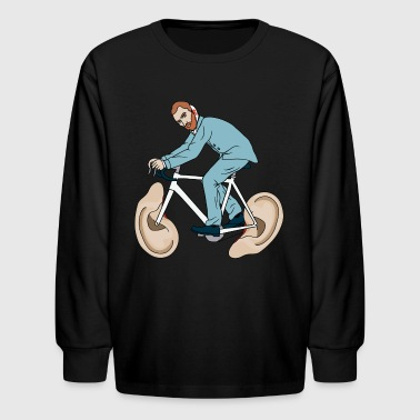 Van Gogh Riding Bike With Severed Left Ear wheels - Kids' Long Sleeve T-Shirt