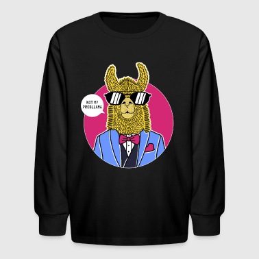 Lama Cool Llama Suit Sunglasses Alpaca Probllama Saying - Kids' Long Sleeve T-Shirt