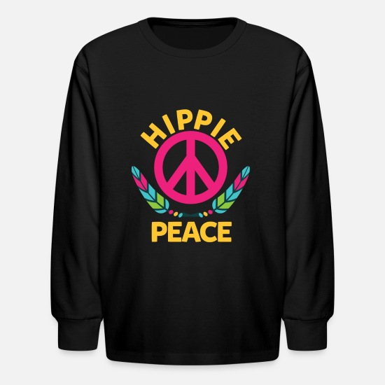 Hippie Long-Sleeve Shirts - Peace, Love, Hippie - Kids' Longsleeve Shirt black