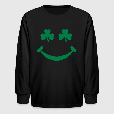 Funny Pregnancy St. Patricks Day clover face -Shamrock St Patricks day Toddler gift - Kids' Long Sleeve T-Shirt