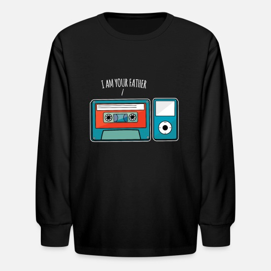 Wars T-Shirts - I Am Your Father Kasette Mp3-Player Musik - Kids' Longsleeve Shirt black