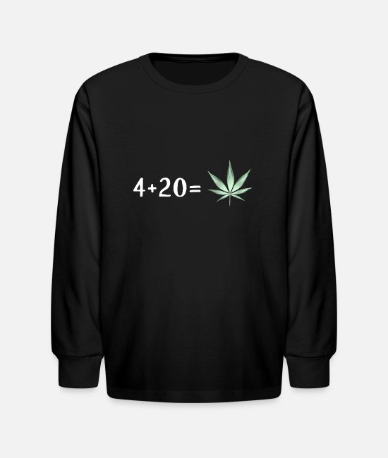 Hemp Long-Sleeved Shirts - 4 + 20 is Cannabis Lover Stoners Birthday Gift - Kids' Longsleeve Shirt black