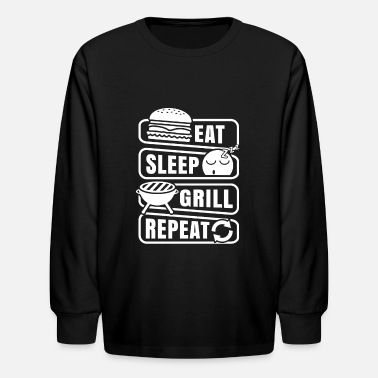 Husband Funny Gift BBQ Barbeque Grill Shirt - Kids' Longsleeve Shirt