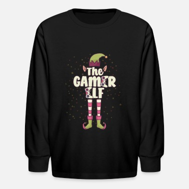 Girl Elven Elf The Gamer Elf. Christmas Elven Design Gaming - Kids' Longsleeve Shirt