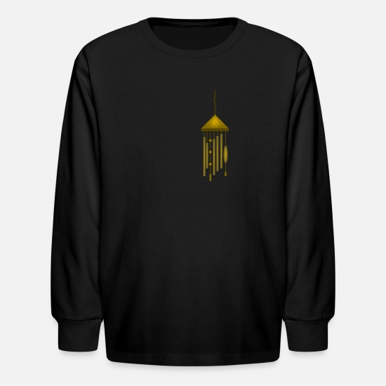 Bell T-Shirts - Big Bronze Wind Chime--DIGITAL DIRECT PRINT - Kids' Longsleeve Shirt black