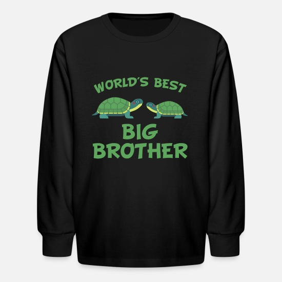 Brother Long-Sleeve Shirts - World's Best Big Brother Turtle - Kids' Longsleeve Shirt black