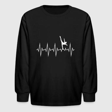 Heartbeat Ice Skating Line Graphics Pulse - Kids' Long Sleeve T-Shirt