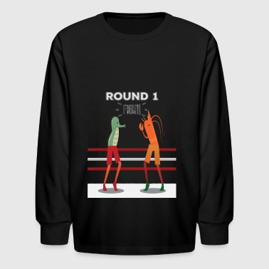 Seahorse Vs Prawn Boxing Match Monster Fight - Kids' Long Sleeve T-Shirt