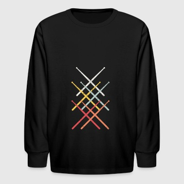 Drumsticks - Vintage Drummer Gift - Kids' Long Sleeve T-Shirt