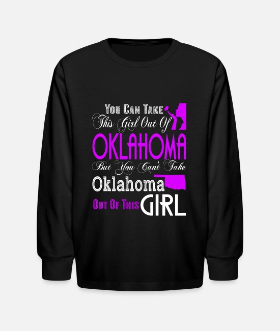 I Love Oklahoma Long-Sleeved Shirts - Oklahoma T Shirt, Oklahoma Girl T Shirt - Kids' Longsleeve Shirt black