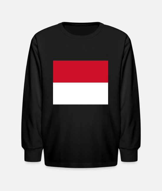 National Long-Sleeved Shirts - Monaco country flag love my land patriot - Kids' Longsleeve Shirt black