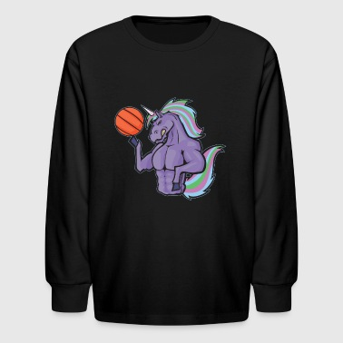 Unicorn Basketball Player - Kids' Long Sleeve T-Shirt