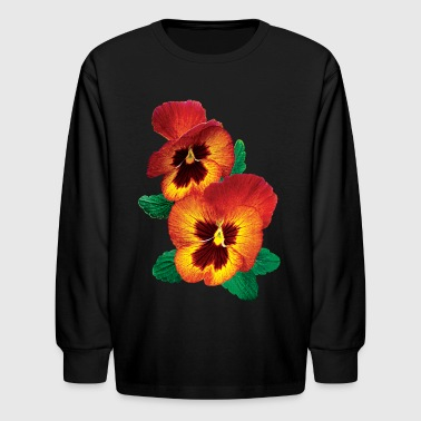 Bronze and Yellow Pansies - Kids' Long Sleeve T-Shirt