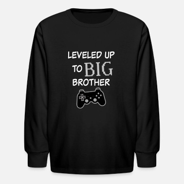 Leveled up to Big Brother Shirt Video Game Funny  - Kids' Long Sleeve T-Shirt