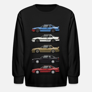 Classic Car Stack of Mazda MX6 GTs - Kids' Long Sleeve T-Shirt