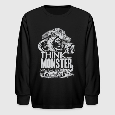 Think Monster Truck Grey - Kids' Long Sleeve T-Shirt