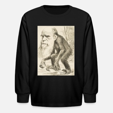 Charles Darwin CHARLES DARWIN:  The Monkey's Uncle! - Kids' Long Sleeve T-Shirt