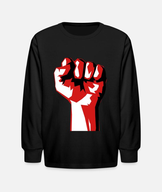 Punch Long-Sleeved Shirts - Fist - Kids' Longsleeve Shirt black