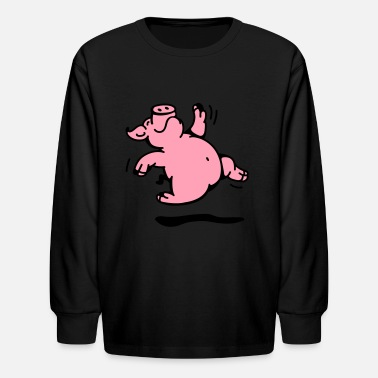 Merrily Happy dancing Pig - Kids' Longsleeve Shirt