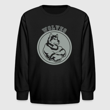 Wolves or Wolf Custom Sports Mascot Graphic - Kids' Long Sleeve T-Shirt