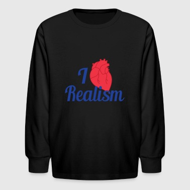 Realistic Heart Realists Quote TShirt Design I heart Realism - Kids' Long Sleeve T-Shirt
