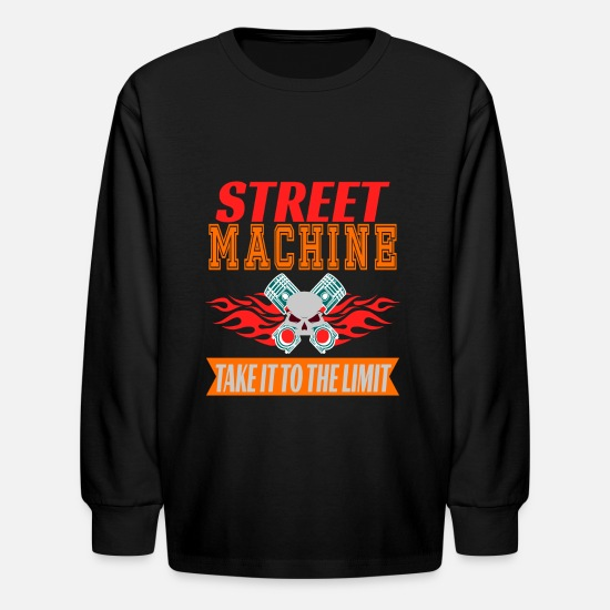 Machine Long-Sleeve Shirts - and adventurous tee design for street machine - Kids' Longsleeve Shirt black