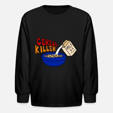 Cute Killer Cereal Killer Parody, Cute funny Food - Kids' Long Sleeve T-Shirt