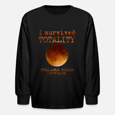 Day Lunar Eclipse I Survived Totality  - Kids' Long Sleeve T-Shirt