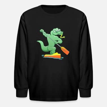 Olympic Canoe Sprint Water Monitor Competing in a Canoe Sprint Event - Kids' Long Sleeve T-Shirt