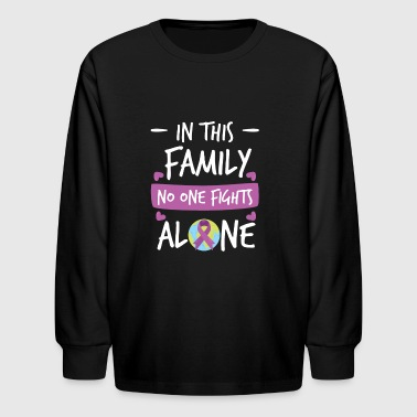 In this Family no one fights alone Pink Ribbon - Kids' Long Sleeve T-Shirt