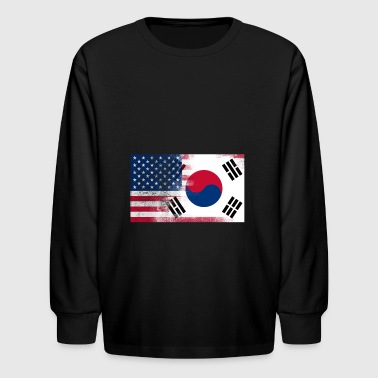 Korean American Half South Korea Half America Flag - Kids' Long Sleeve T-Shirt