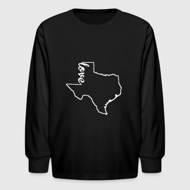 Texas Love State Outline - Kids' Long Sleeve T-Shirt
