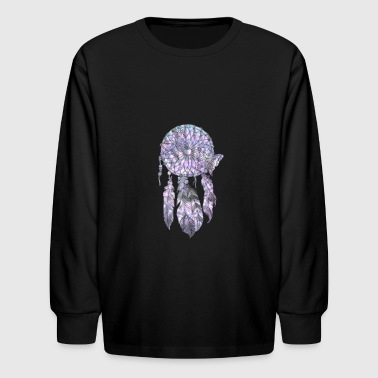 Tie Tie Dye Purple Dream Catcher Design - Kids' Long Sleeve T-Shirt