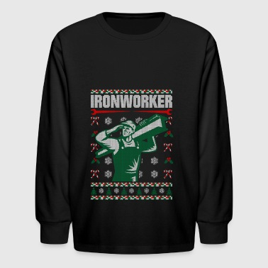 Ironworker Christmas Ugly Sweater - Kids' Long Sleeve T-Shirt
