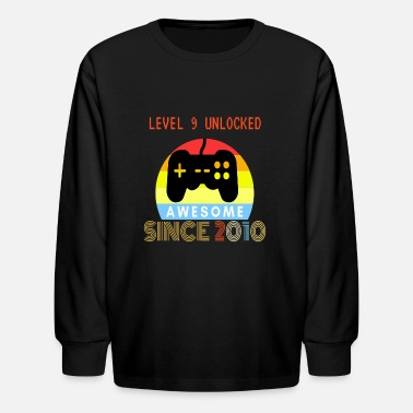 Level 9 Unlocked Awesome Since 2010-9th Birthday - Kids' Longsleeve Shirt