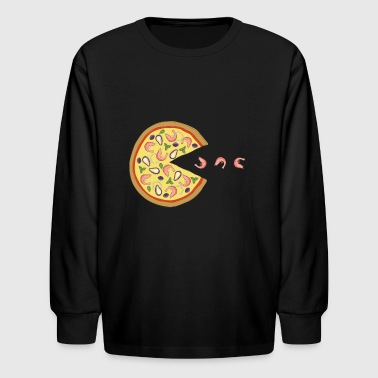 Pizza Geek Retro Gaming Pizza Scampi - Geek Vintage Shirt - Kids' Long Sleeve T-Shirt
