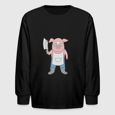 Butcher killer Pig - Kids' Long Sleeve T-Shirt