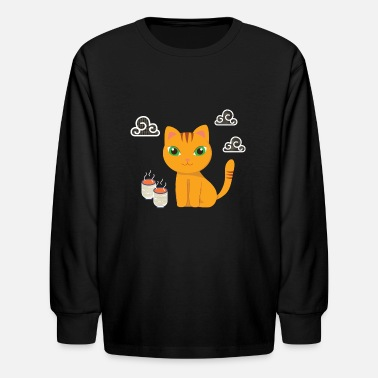 Sweet Coffee Cat Lover Kids Gift Shirt - Kids' Longsleeve Shirt