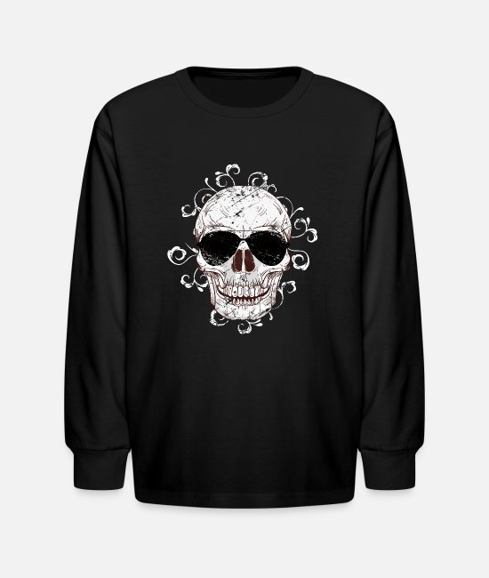Colorful Long-Sleeved Shirts - Skull Sunglasses - Kids' Longsleeve Shirt black
