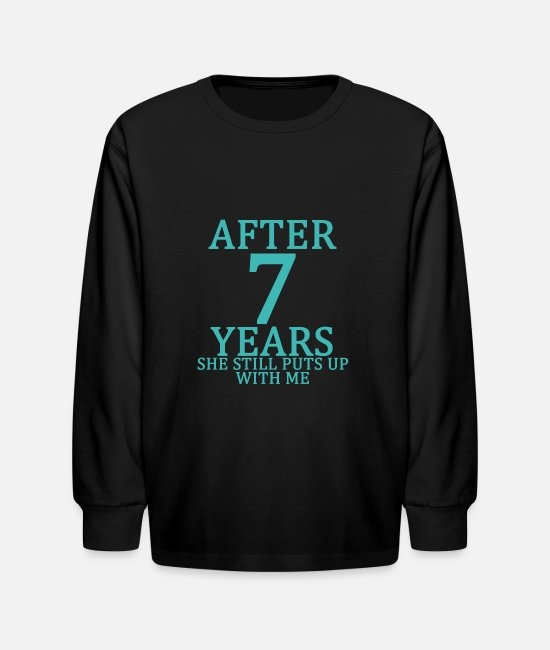 Engagement Long-Sleeved Shirts - seventh_7th_anniversary_married_funny_tshirt - Kids' Longsleeve Shirt black