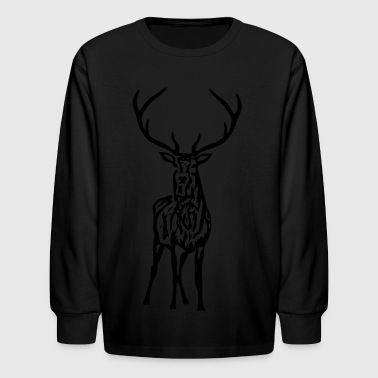 Antler wild stag deer moose elk antler antlers horn horns cervine hart bachelor party night hunter hunting - Kids' Long Sleeve T-Shirt